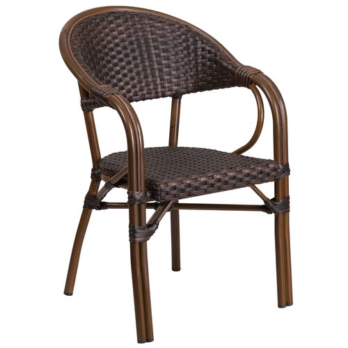 Our Milano Series Dark Brown Rattan Restaurant Patio Chair with Red Bamboo-Aluminum Frame is on sale now.