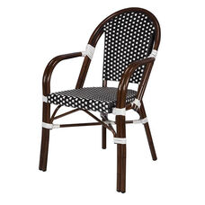 Paris Indoor/Outdoor Stackable Arm Chair with Dark Bamboo Aluminum Frame - Black and White