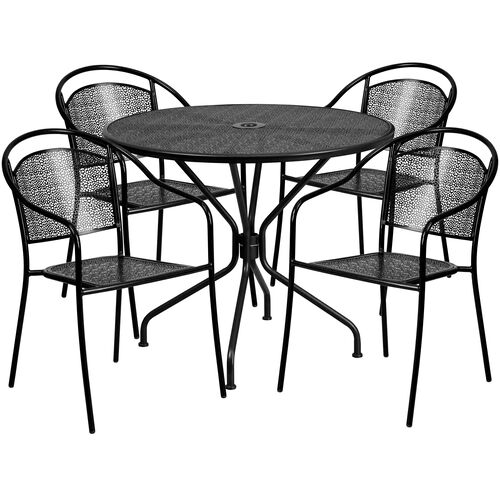 "Our Commercial Grade 35.25"" Round Black Indoor-Outdoor Steel Patio Table Set with 4 Round Back Chairs is on sale now."