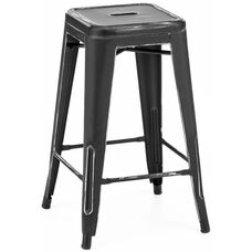 Dreux Vintage Matte Black with Silver Distressed Stackable Steel Counter Stool - Set of 4