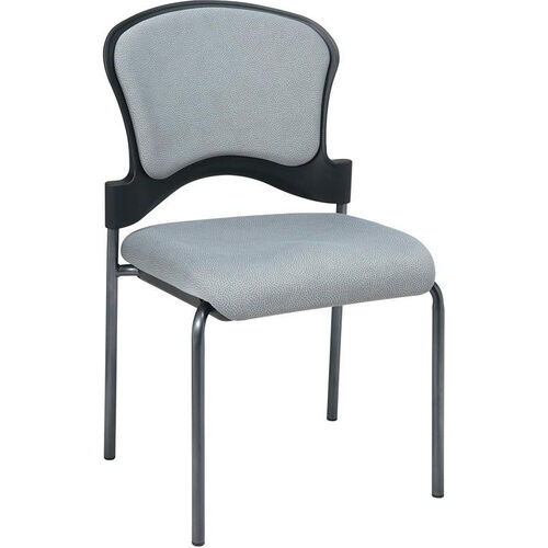 Pro-Line II Armless Upholstered Contour Back Stacking Visitors Chair with Titanium Finish Frame - Ember