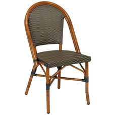 Bistro Collection Outdoor Side Chair with Painted Aluminum Frame - Black and Coffee