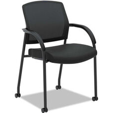 HON® Lota Series Mesh Back Stacking Guest Side Chair with Arms and Casters - Black Fabric
