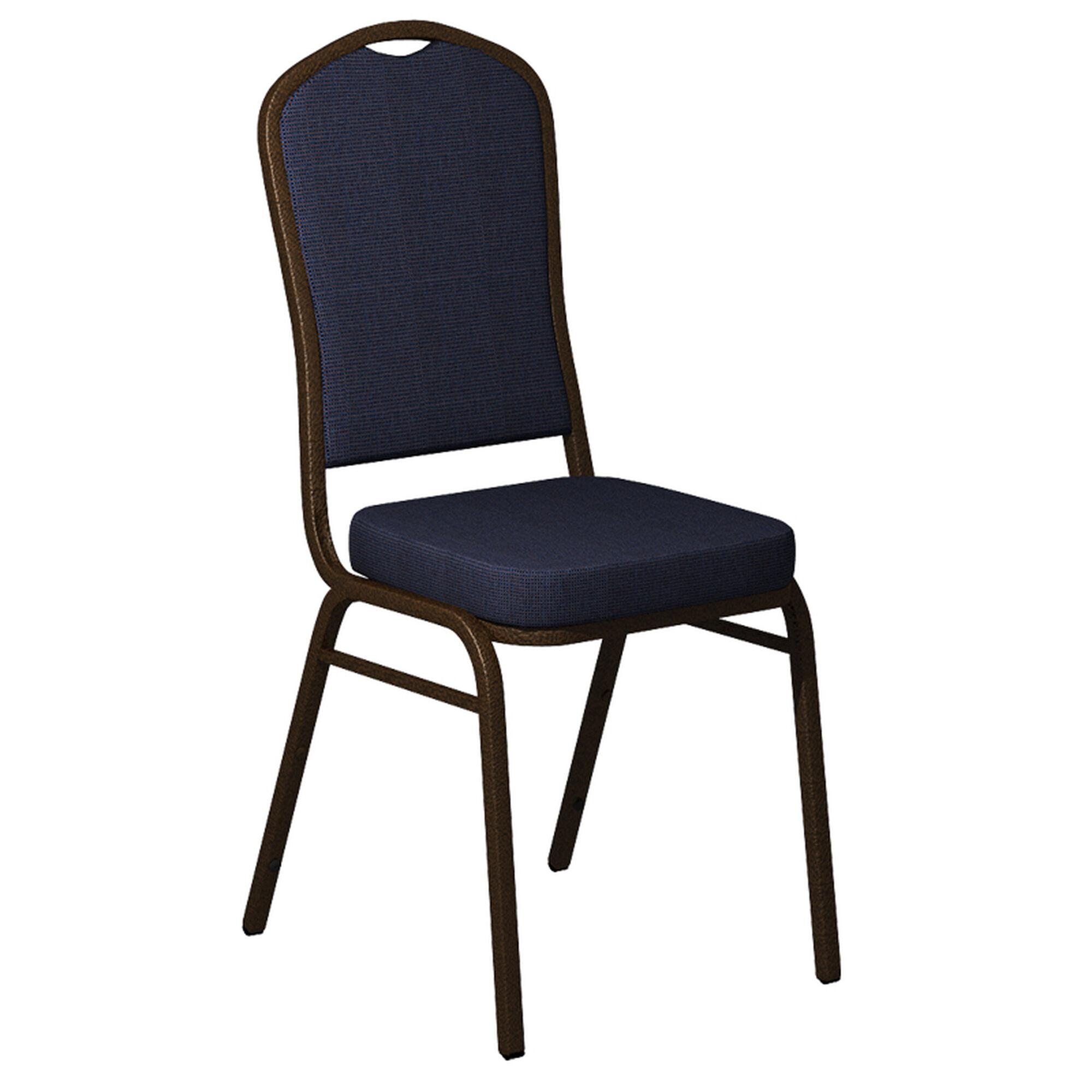 Crown Back Banquet Chair in Shire Titan Blue Fabric - Gold Vein Frame