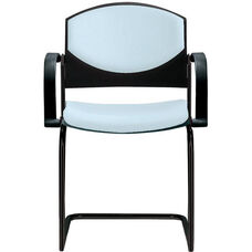 Eddy Sled Base Black Stack Side Chair with Upholstered Back and Seat Pads