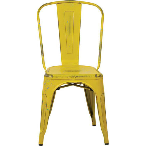 Our OSP Designs Bristow Stackable Armless Metal Chair - Set of 4 - Antique Yellow with Blue Specks is on sale now.