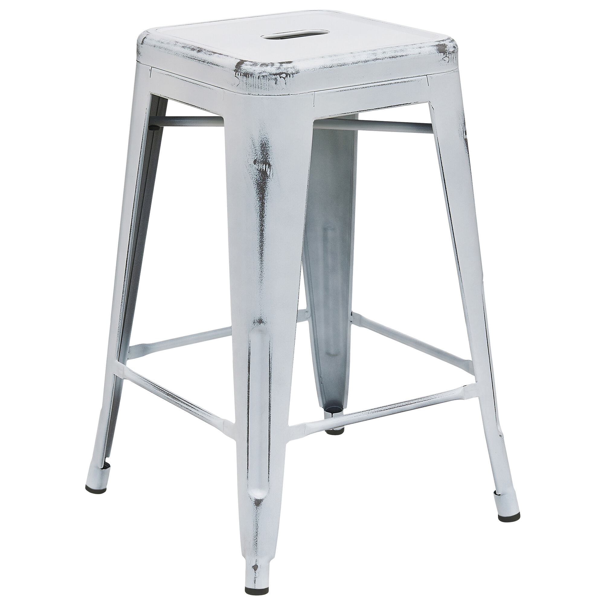 Superb Commercial Grade 24 High Backless Distressed White Metal Indoor Outdoor Counter Height Stool Pabps2019 Chair Design Images Pabps2019Com