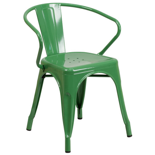 Our Commercial Grade Green Metal Indoor-Outdoor Chair with Arms is on sale now.