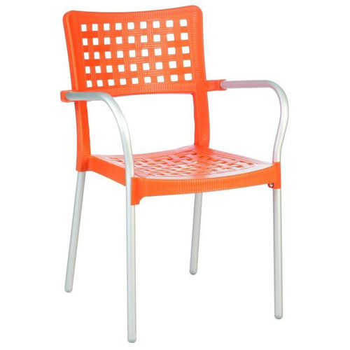 Gala Outdoor Resin Stackable Dining Arm Chair with Aluminum Arms and Legs