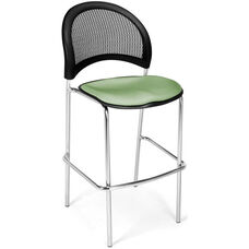 Moon Cafe Height Chair with Fabric Seat and Chrome Frame - Sage Green