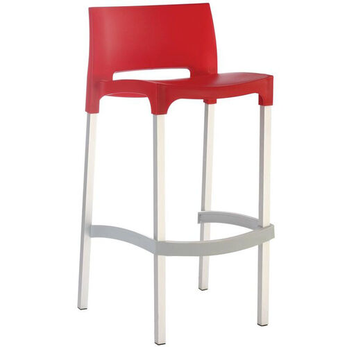 Our Domenica Lightweight Stackable Barstool with Matte Aluminum Legs - Red is on sale now.