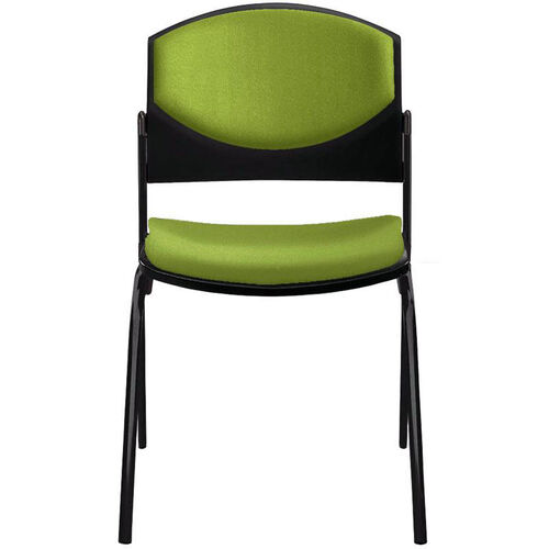 Eddy 4-Post Black Stack Side Chair with Upholstered Back and Seat Pads