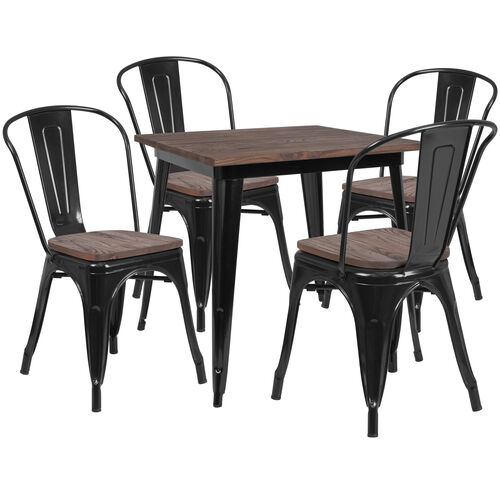 "Our 31.5"" Square Black Metal Table Set with Wood Top and 4 Stack Chairs is on sale now."