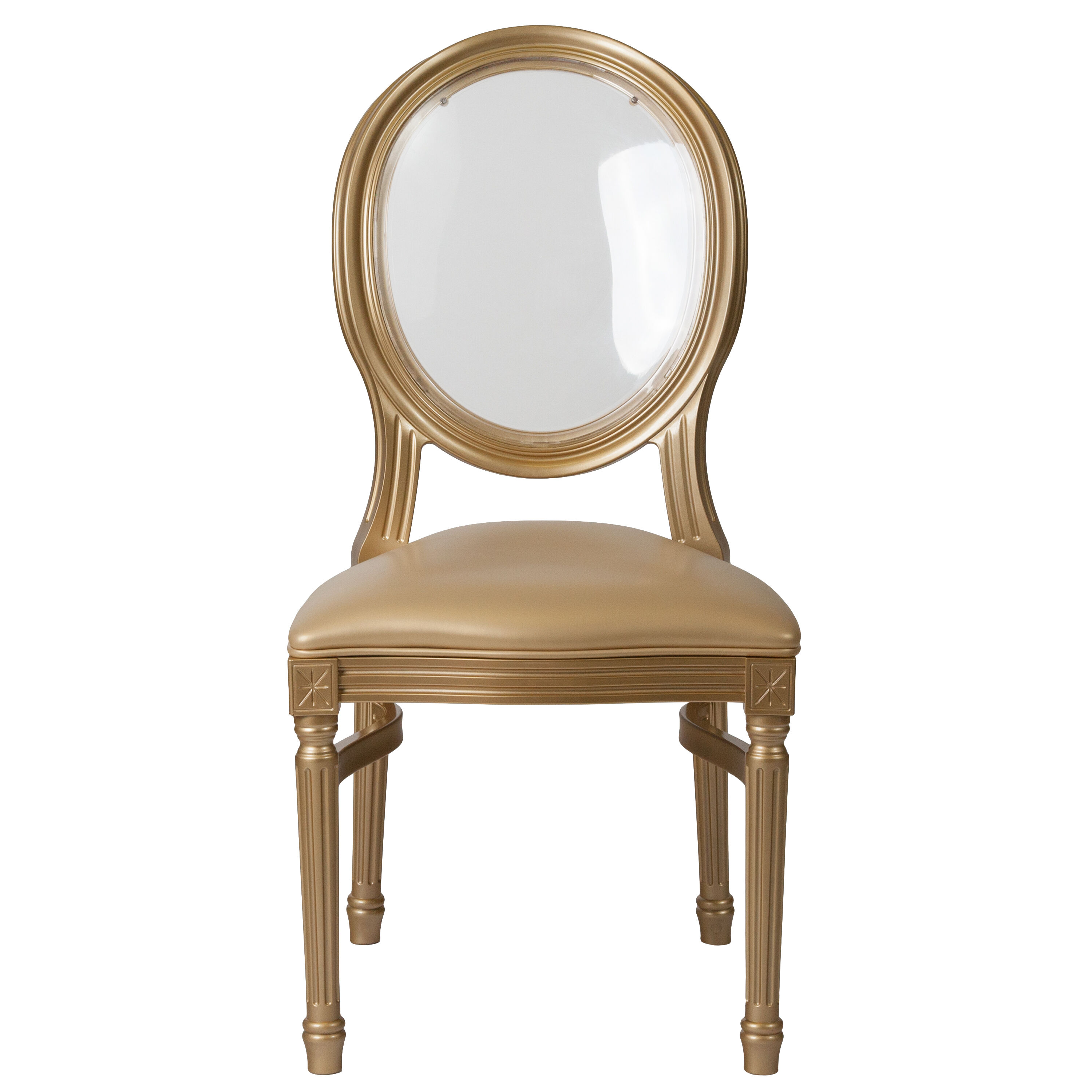 Capacity King Louis Chair With Transparent Back, Gold Vinyl