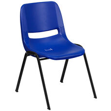 HERCULES Series 880 lb. Capacity Blue Ergonomic Shell Stack Chair with Black Frame