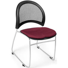 Moon Stack Chair with Fabric Seat Cushion - Burgundy