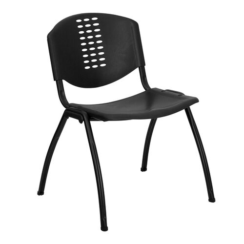 Our HERCULES Series 880 lb. Capacity Black Plastic Stack Chair with Oval Cutout Back and Black Frame is on sale now.