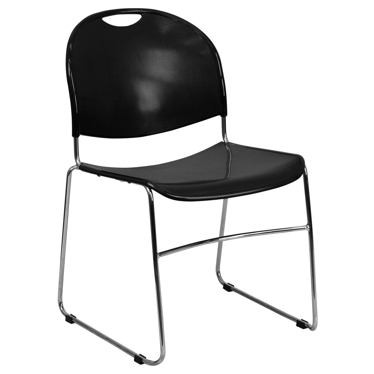 Tobago Stacking Chair Brown Chrome: Black Stack Chair-Chrome Frame RUT-188-BK-CHR-GG