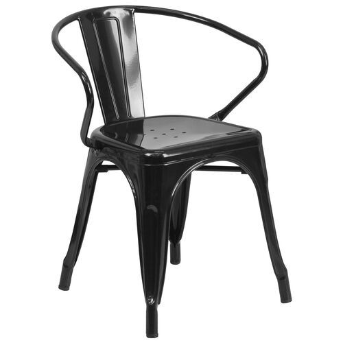Our Commercial Grade Black Metal Indoor-Outdoor Chair with Arms is on sale now.