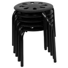 "Plastic Nesting Stack Stools, 11.5""Height, Black (5 Pack)"