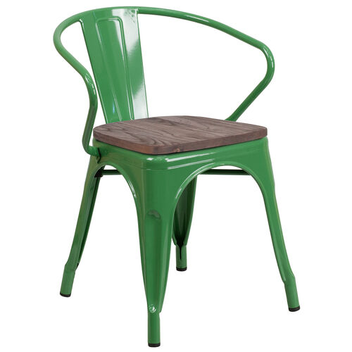Our Green Metal Chair with Wood Seat and Arms is on sale now.