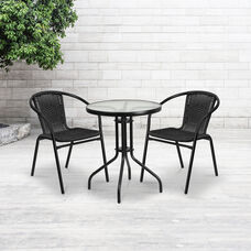 2 Pack Black Rattan Indoor-Outdoor Restaurant Stack Chair