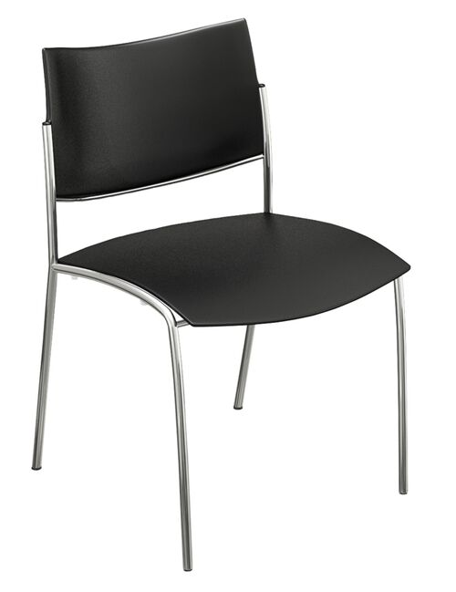 Bistro Escalate Chair with Plastic Back and Plastic Seat - Set of 4 - Black
