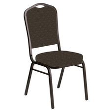 Crown Back Banquet Chair in Abbey Mocha Fabric - Gold Vein Frame