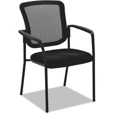 Alera® Black Mesh Guest Stacking Arm Chair with Glides and Casters - Black