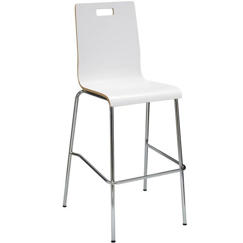 Our JIVE Series Stacking Bentwood Armless Cafe Barstool with HPL Surface and Silver Steel Frame - White is on sale now.