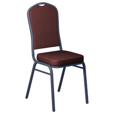 Shire Black Cherry Fabric Upholstered Crown Back Banquet Chair - Silver Vein Frame