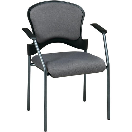 Pro-Line II Upholstered Contour Back Stacking Visitors Chair with Arms and Titanium Finish Frame - Carbon