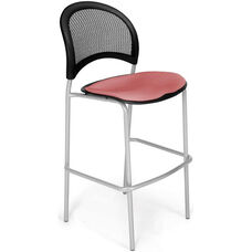 Moon Cafe Height Chair with Fabric Seat and Silver Frame - Coral Pink