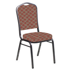 Embroidered Crown Back Banquet Chair in Cirque Rust Fabric - Silver Vein Frame