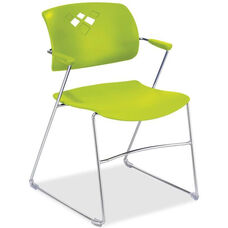 Safco Grass Green Flex Back Plastic Stack Chair with Arms and Steel Frame - Set of 4