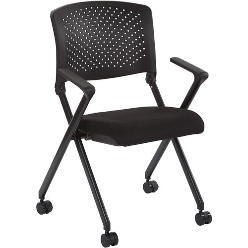 Our Work Smart Plastic Back Nesting Chair with Black Finish Frame - Set of 2 - Black Icon is on sale now.