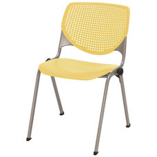 2300 KOOL Series Stacking Poly Armless Chair with Perforated Back and Silver Frame - Yellow