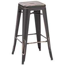 Dreux Stackable Vintage Matte Black - Gold Steel Barstool - Set of 4