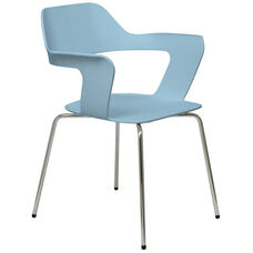 Julep Series Stacking Arm Chair with Flex Poly Shell and Silver Frame - Sky Blue