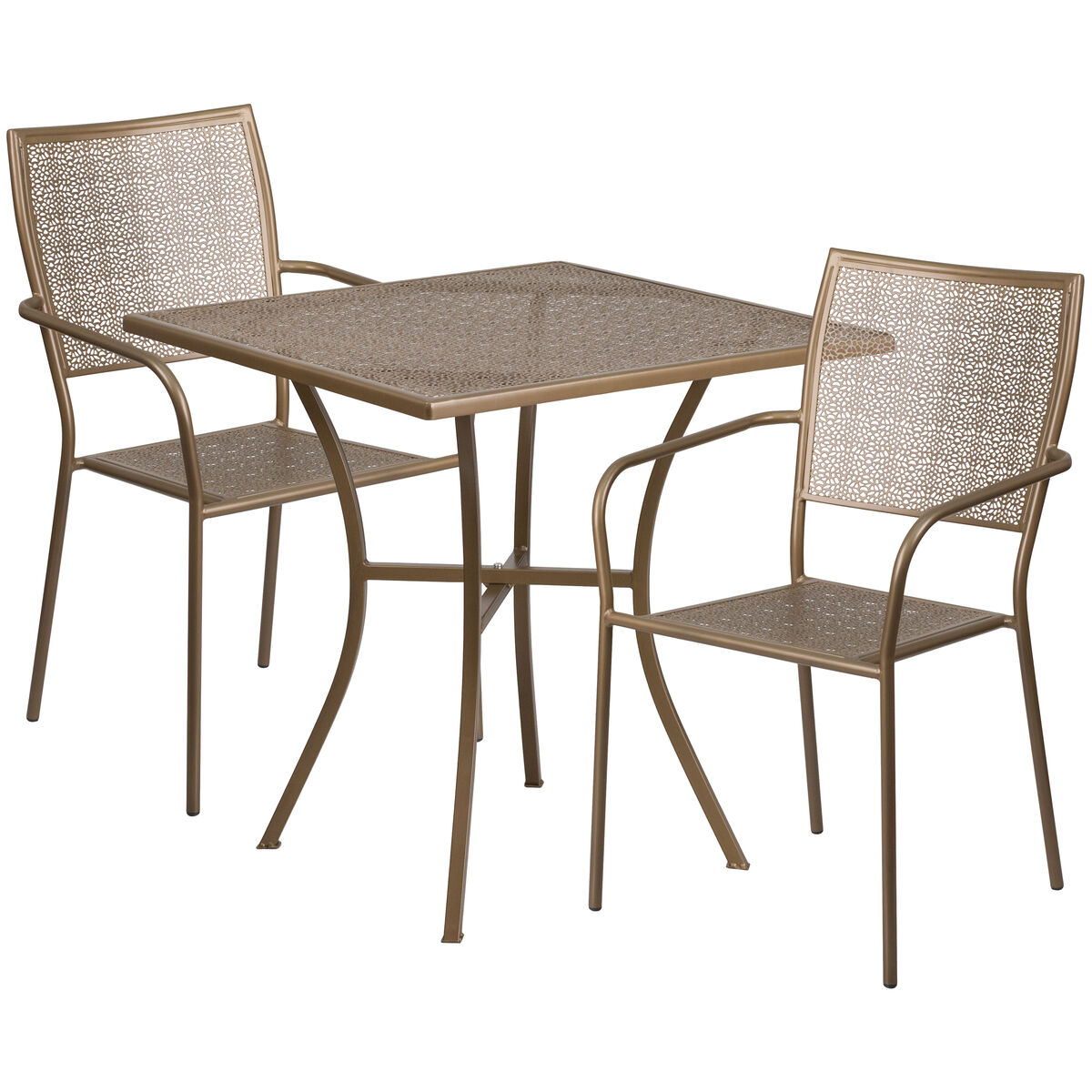 28SQ Gold Patio Table Set CO-28SQ-02CHR2-GD-GG | StackChairs4Less.com