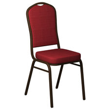 Crown Back Banquet Chair in Biltmore Ruby Fabric - Gold Vein Frame