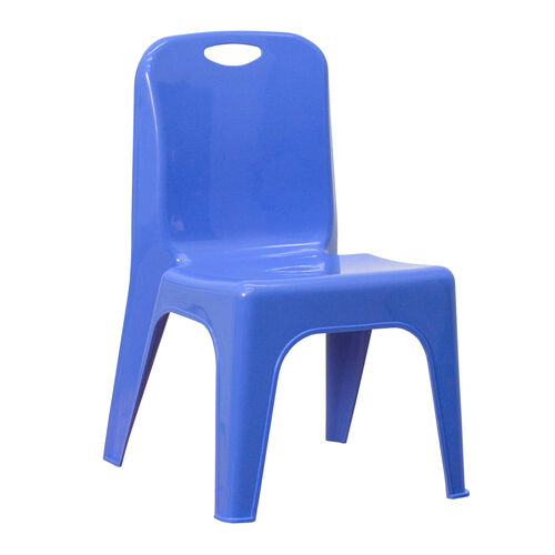 Blue Plastic Stackable School Chair with Carrying Handle and 11