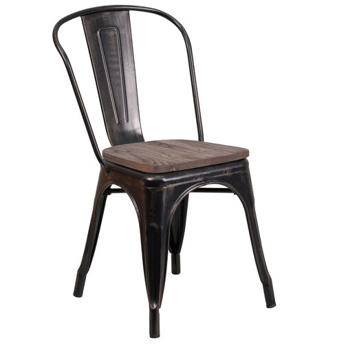 Our Black-Antique Gold Metal Stackable Chair with Wood Seat is on sale now.