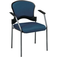 Pro-Line II Upholstered Contour Back Stacking Visitors Chair with Arms and Titanium Finish Frame - Azul