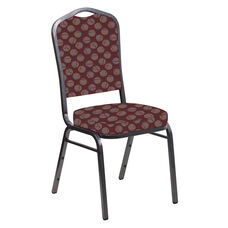 Embroidered Crown Back Banquet Chair in Cirque Oxblood Fabric - Silver Vein Frame
