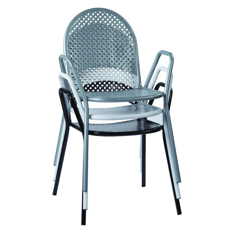 ... Our Work Smart Metal Stacking Chairs With Arms   Set Of 2   Black Is On