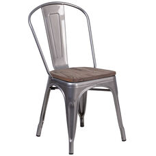 Clear Coated Metal Stackable Chair with Wood Seat