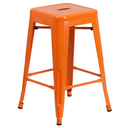 "Our Commercial Grade 24"" High Backless Orange Metal Indoor-Outdoor Counter Height Stool with Square Seat is on sale now."