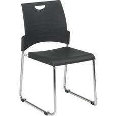 Work Smart Chrome Frame Sled Base and Plastic Stack Chair - Set of 2
