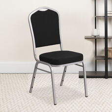 HERCULES Series Crown Back Stacking Banquet Chair in Black Fabric - Silver Frame